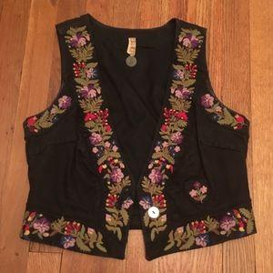 Free People Floral embroidered black suede vest